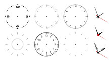 Clock Face Blank Isolated On White Background. Vector Clock Hands. Set For Watch Design