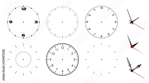 Clock face blank isolated on white background Wallpaper Mural