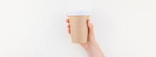 Mock Up Of Coffee Cup In Femal...