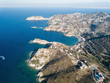 Aerial drone photography of beautiful Crete coastline, Greece