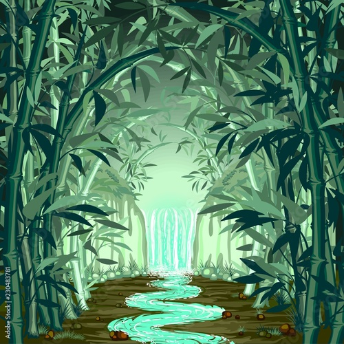 Spoed Foto op Canvas Draw Fluorescent Waterfall on Surreal Bamboo Forest