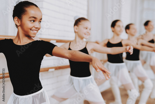 Canvastavla Ballet Training of Group of Young Girls Indoors.