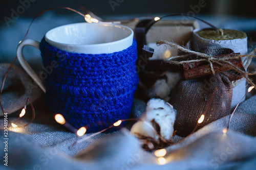 In de dag Macrofotografie Cozy winter composition with eco gifts and christmas lights, flat lay, mock up, macro photo