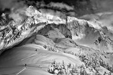 Skiers On Shuskan Arm, North Cascades, Washington, USA