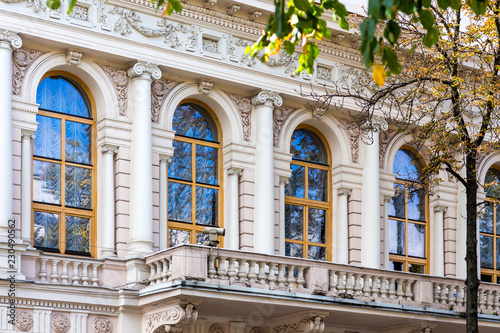 The facade of a decorated house in the center of Kiev. A modern European city_