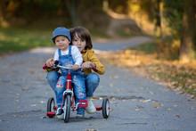 Sweet Toddler Boy, Riding Tric...