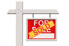 For Sale Real Estate Sign With Sold Sticker, 3D Rendering