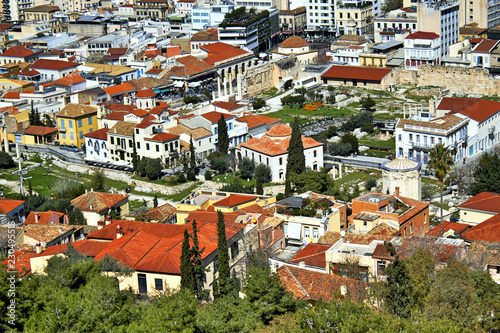 Greece, Athens, view of the traditional Plaka neighborhood from the Acropolis hill.