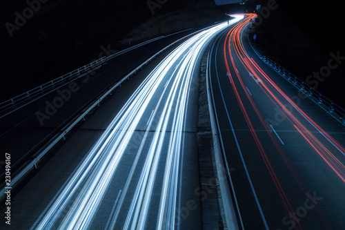 Highway car light trails at night