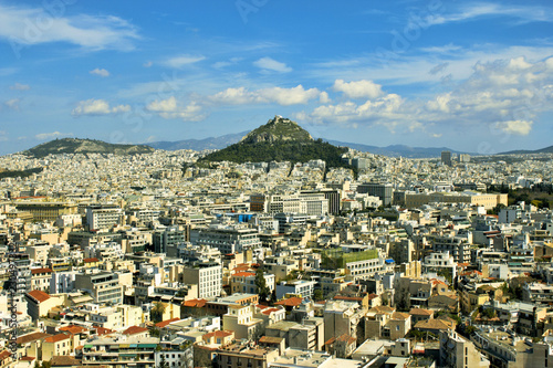 Greece, Athens city view, with Lycabettus hill in the background.