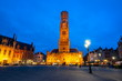 Belfort tower on Market square at night, Bruges, Belgium