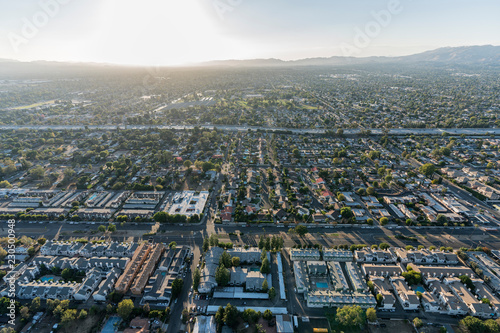 Aerial sunset view towards Sepulveda Blvd and the 405
