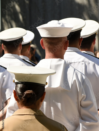 Photo US Navy sailors from the back. US Navy army.