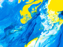 Blue And Yellow Creative Abstract Hand Painted Background, Marble Texture