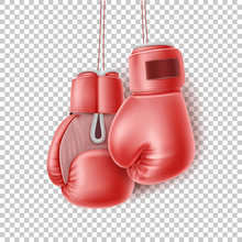 Vector Red Pair Of Boxing Glove On Lace Realistic