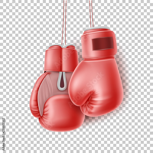 Vászonkép Vector red pair of boxing glove on lace realistic