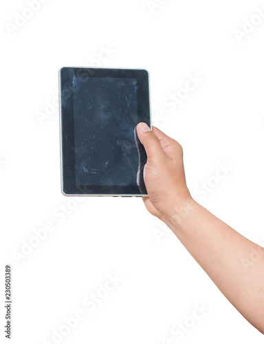 Fotografía  Hand holding tablet isolated with dust and stain on screen