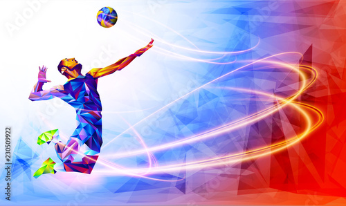 fototapeta na drzwi i meble Illustration of abstract volleyball player silhouette in triangle. volleyball player, sport