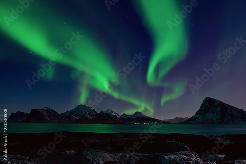 Poster Aurore polaire Northern Lights, Aurora Borealis shining green in night starry sky at winter Lofoten Islands, Norway