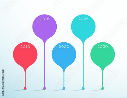 Fotografia  Timeline Colorful Vector 3d Circle Infographic Template