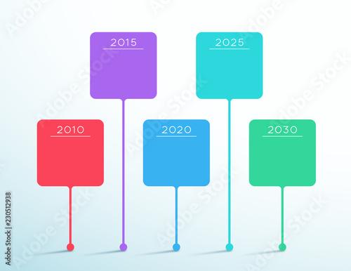 Fotografia  Timeline Colorful Vector 3d Box Infographic Template