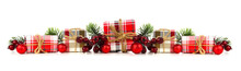 Christmas Border Of Plaid Print Wrapped Gift Boxes And Decorations Isolated On A White Background