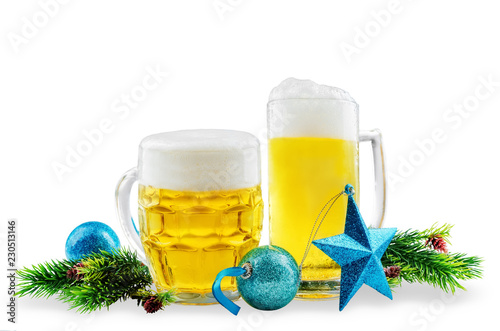 Foto op Aluminium Bier / Cider Beer in glasses with Christmas decoration