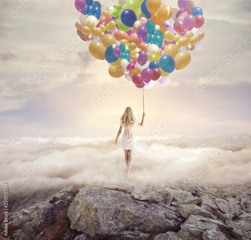 Acrylic Prints Artist KB Conceptual picture of a woman holding hundreds of balloons