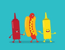 Fast Food. Hot Dog, Ketchup And Mustard