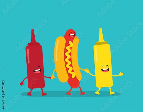 Fotografía  Fast food. Hot dog, ketchup and mustard
