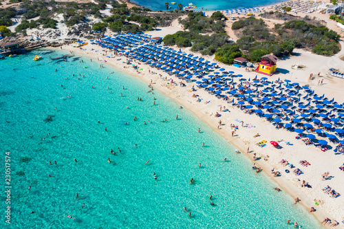 A symmetrical aerial photo of a beautiful beach in Ayia Napa