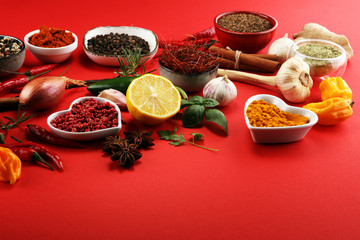 Fototapeta Spices and herbs on table. Food and cuisine ingredients.