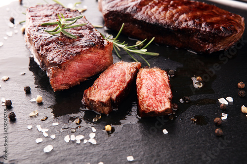 Poster de jardin Steakhouse Barbecue Rib Eye Steak or rump steak - Dry Aged Wagyu Entrecote Steak