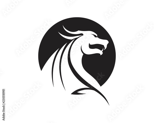Fototapety, obrazy: Head dragon flat color logo template vector illustration