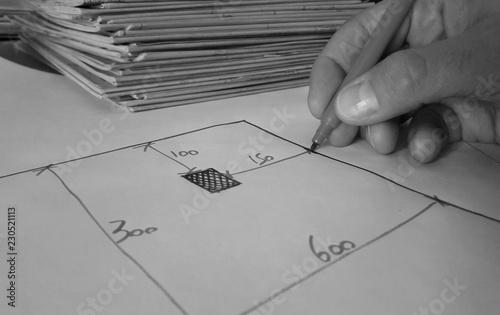 Architetto al lavoro - rilievo e progetto Wallpaper Mural