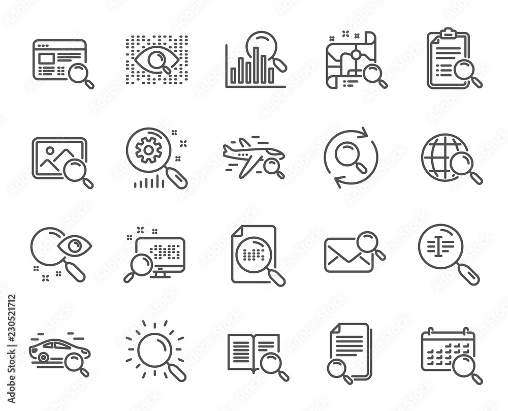 Fototapeta Search line icons. Set of Indexation, Artificial intelligence and Car rental linear icons. Airplane flights, Web search engine and Analytics graph symbols. Photo, Find text and mail. Vector
