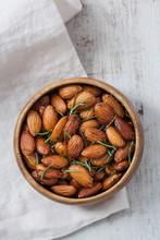 Wooden Bowl Of Almonds