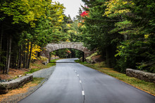 Autumn Road With Bridge And Foliage Colors