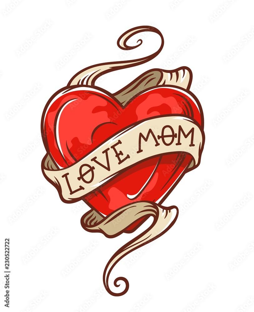 Fototapeta love mom tattoo