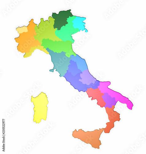 Cartina Regionale Dell Italia.Mappa 3d Dell Italia Con Le Sue Regioni Colorate 3d Rendering Stock Illustration Adobe Stock
