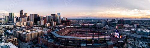 Fotografia  Aerial drone photo of the city of Denver skyline at sunset