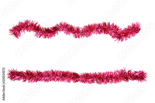 Fotografia  Christmas red tinsel for decoration. White isolate