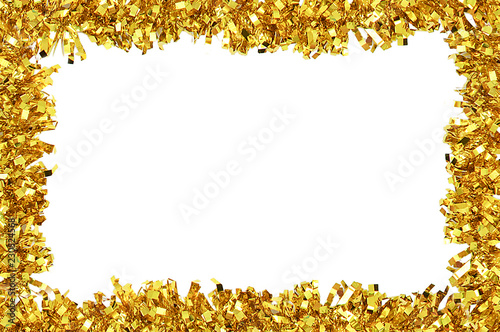 Obraz Christmas frame of golden tinsel for decoration. White isolate - fototapety do salonu