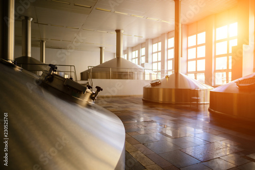 Fotobehang Bier / Cider interior modern brewery plant, brewer tank in factory