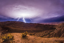 Lightning Bolts During A Thunderstorm In The Anza-Borrego Desert