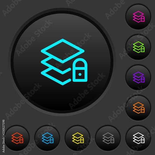 Fotografie, Obraz  Locked layers dark push buttons with color icons