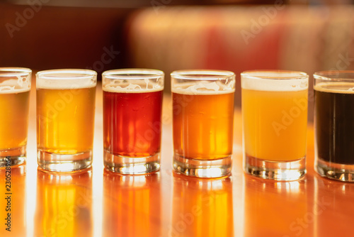 Full frame beer background - flight with variety of colors Canvas Print
