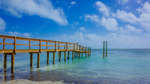 Wooden pier extending into the sea in Florida, USA
