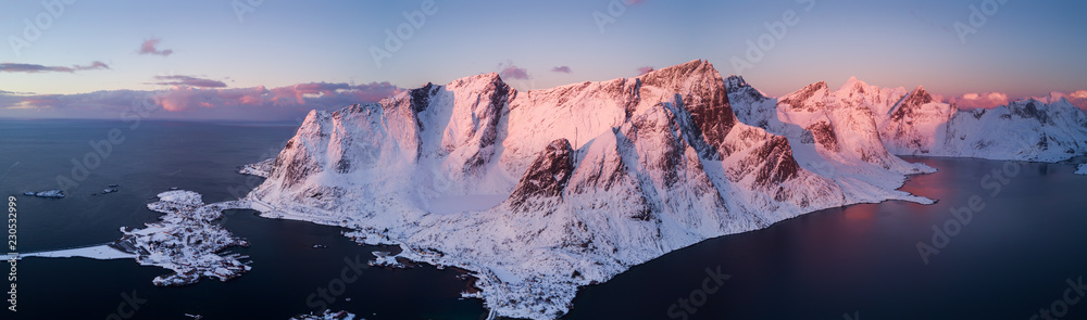 Fototapety, obrazy: Aerial drone photo - Beautiful sunrise over the mountains of the Lofoten Islands.  Reine, Norway
