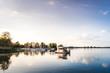 Hausboot bei Sonnenuntergang